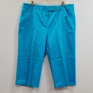 Ashley Stewart 16W turquoise blue capris pants